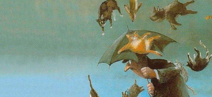 """Se você está aprendendo inglês americano, provavelmente sabe que a expressão it's raining cats and dogs* (está chovendo gatos e cachorros) é equivalente a """"está chovendo canivetes"""" (ou torrencialmente). Não quer dizer que gatos e cachorros estão caindo do céu."""